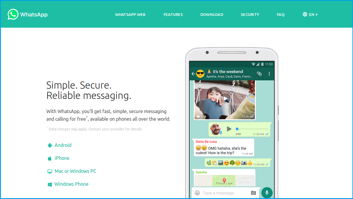 whatsapp homepage